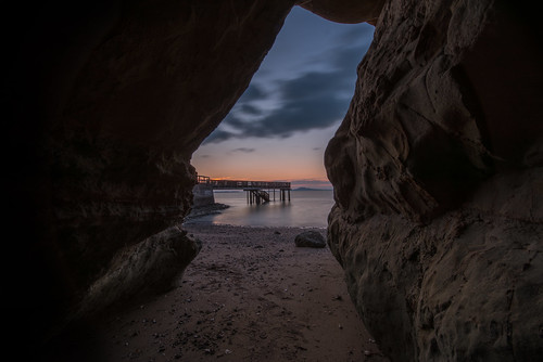 sea beach jetty wharf cave nature framed sunset dusk landscape nikon