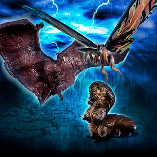 HGD+ EX01《哥吉拉2:怪獸之王》摩斯拉&拉頓&摩斯拉幼蟲套組(モスラ&ラドン&モスラ幼虫セット)【PB限定】
