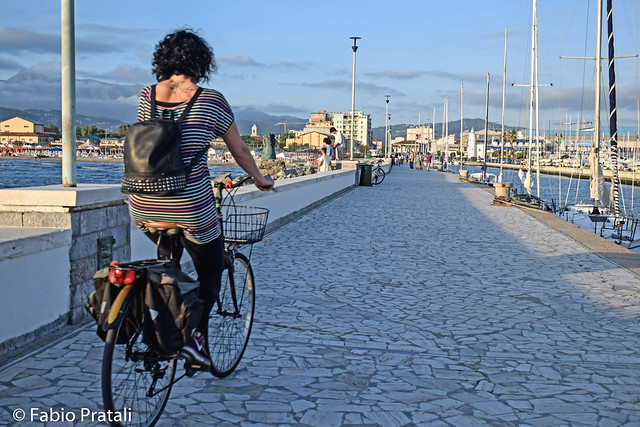 Cycling along the pier