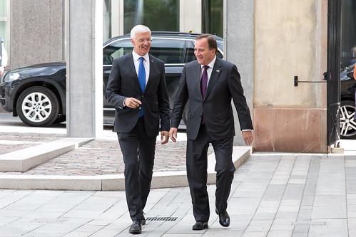 Ministru prezidents Krišjānis Kariņš tiekas ar Zviedrijas premjerministru Stefanu Levēnu (Stefan Löfven)