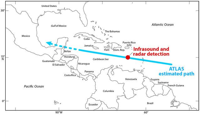 VCSE - A 2019 MO pályája, az infrahang és radardetektálások helye. - Forrás: University of Hawaii