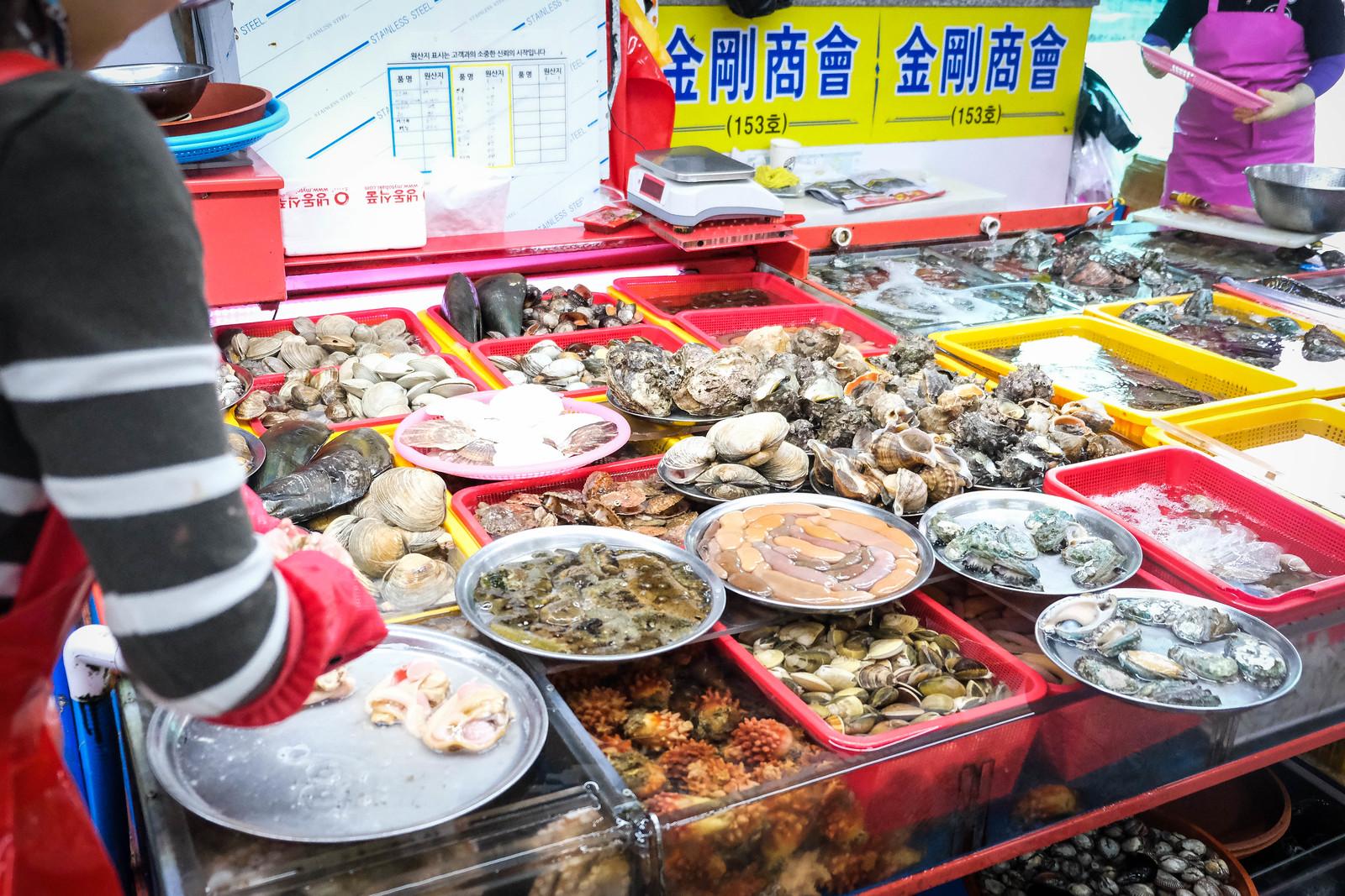 札嘎其市场海鲜上显示