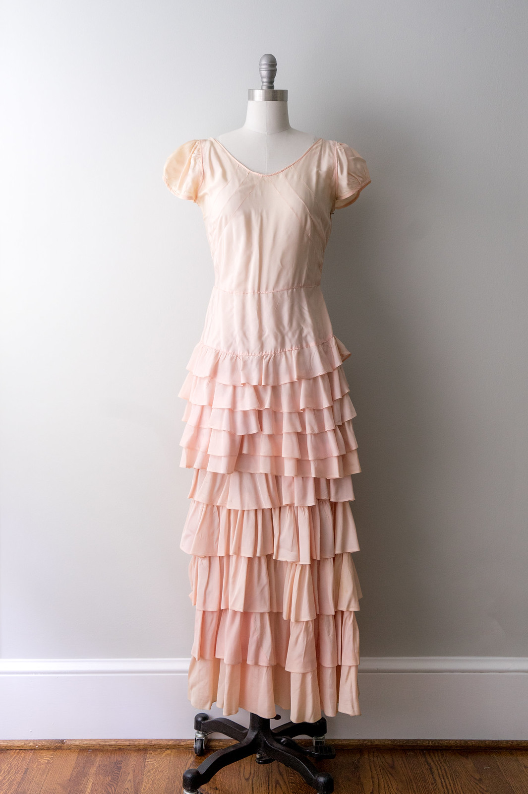 pale pink 30s ruffled long dress