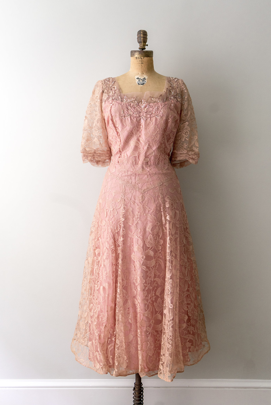 pink rhinestone and lace party dress