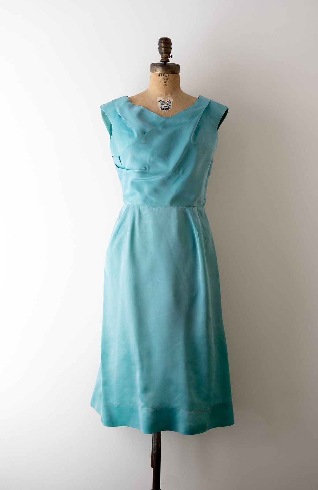 aqua draped wiggle dress main