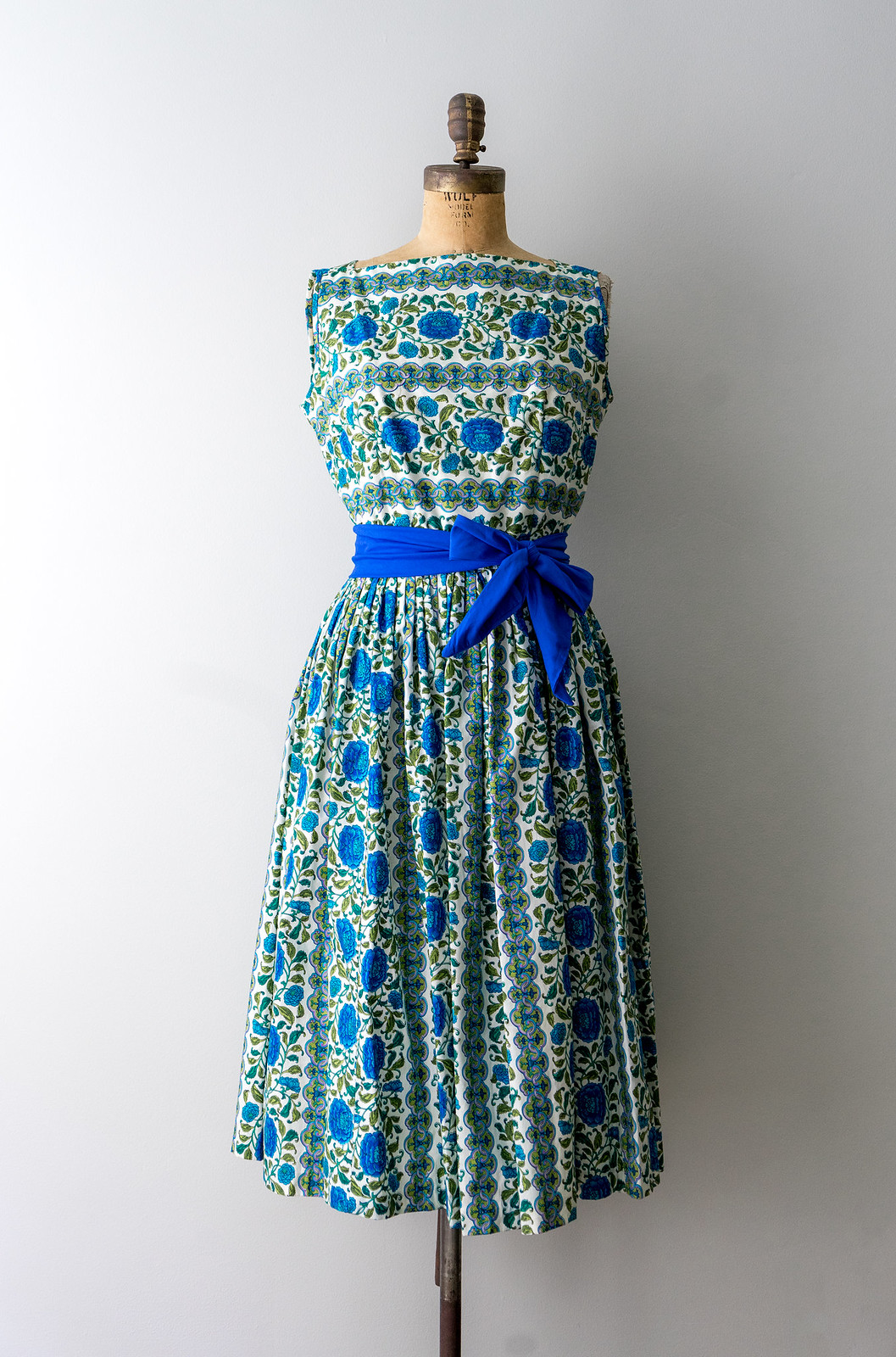 blue green floral print swing dress