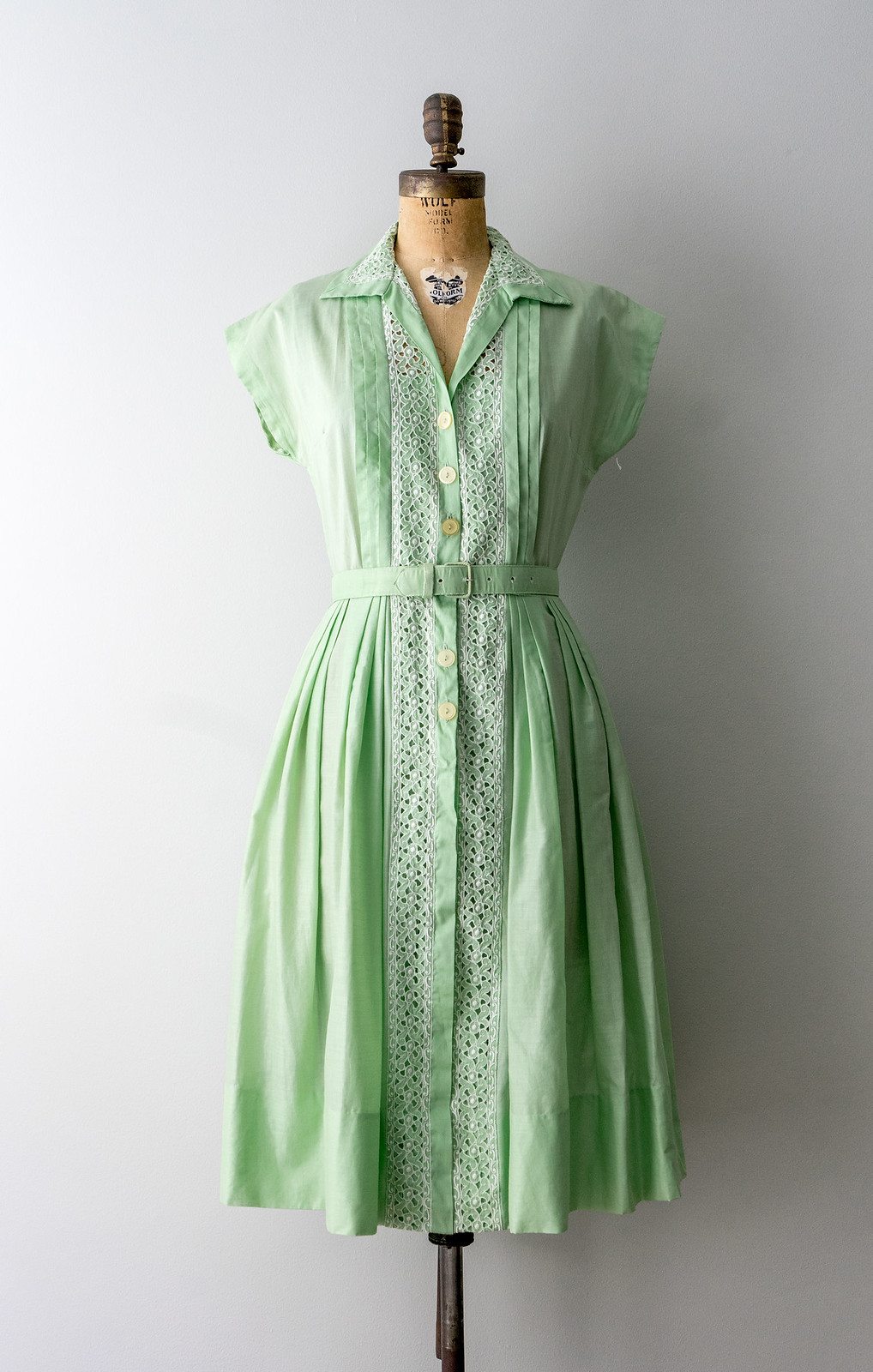 mint green cotton embroidered shirtwaist dress