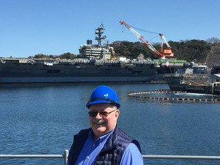 John Simmons W-the USS Reagan in the background