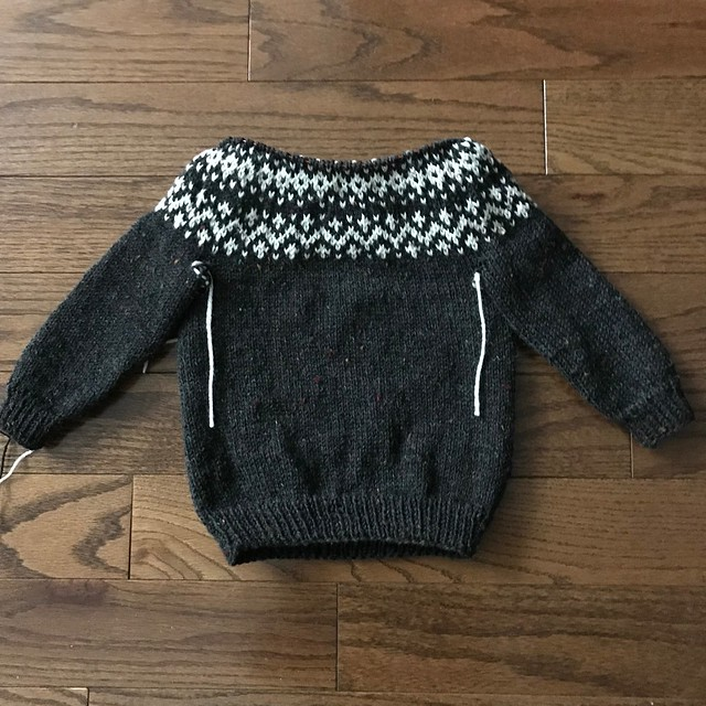 Progress on the Dog Star sweater by tincanknits that I knit my grandson using Regia 6 ply Tweed