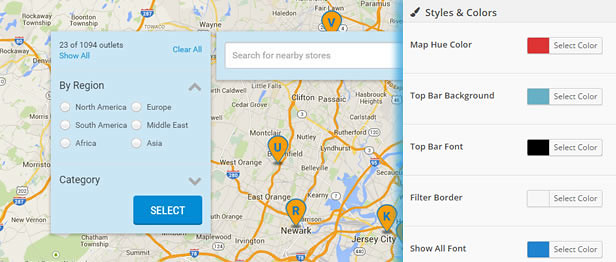 Customize Style and Design for your store locator in Super Store Finder for WordPress