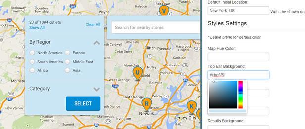 Estilos totalmente personalizáveis e localizador de lojas de design