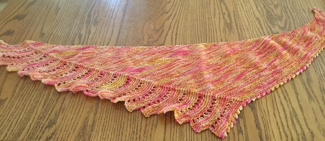 Liz knit Close to You by Justyna Lorkowska with the yarn that she won on LYS Day!