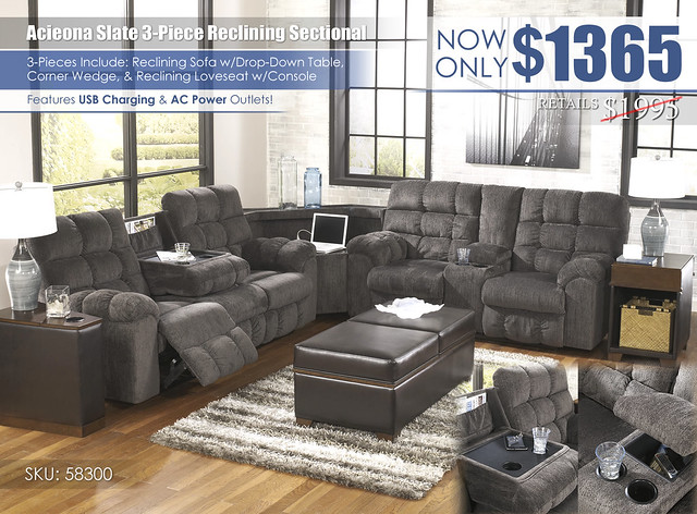 Acieona Slate Reclining 3-Piece Sectional_58300-SEC-T661-OPEN-SD