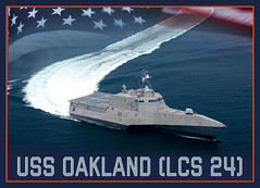 A graphic representation of the future Independence-variant littoral combat ship USS Oakland (LCS 24). (U.S. Navy)
