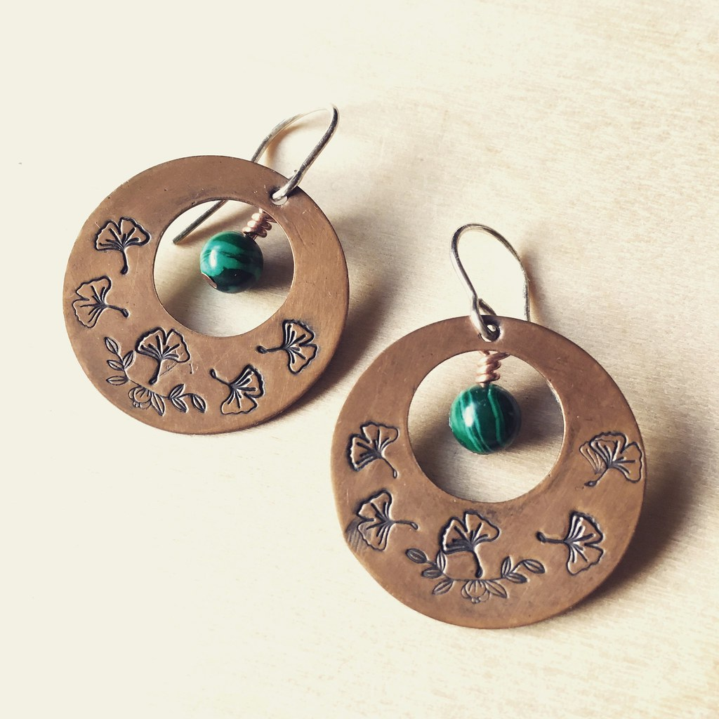 Malachite and Copper Earrings