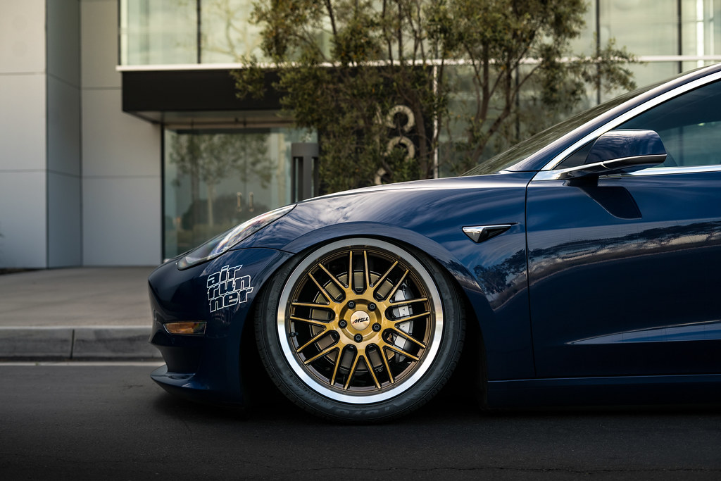 TSW Avalon - Tesla Model 3 brushed bronze rotary forged wheels rims - Air Suspension - Bagged - 06