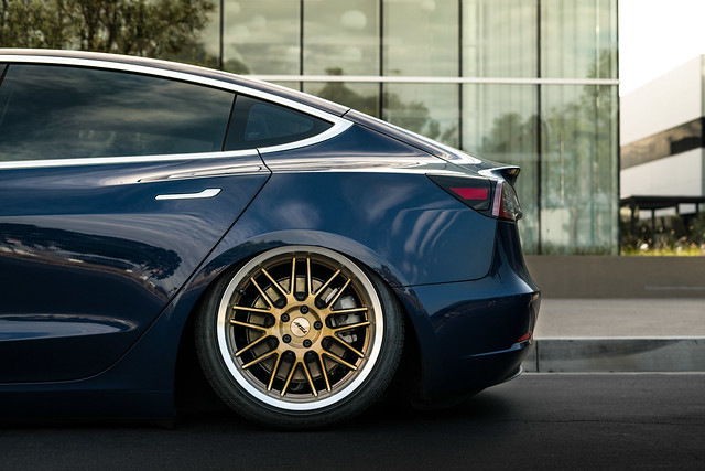 TSW Avalon - Tesla Model 3 brushed bronze rotary forged wheels rims - Air Suspension - Bagged - 05