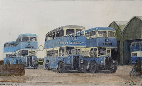 Another of my transport themed paintings AEC Regents llls at Bradford Banktop shed around 1952