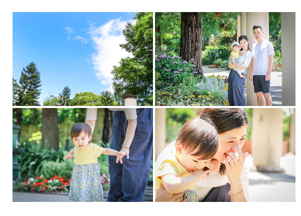 公園で家族写真のロケーションフォト フラリエ 名古屋市