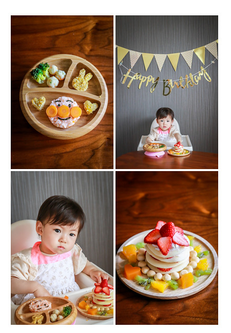 女の子1歳のお誕生日 ママ手作りのランチとケーキ バースデーデコレーション