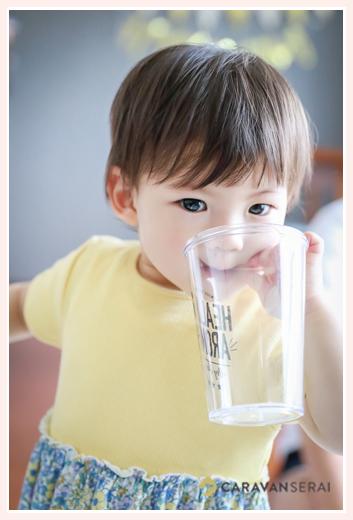 自宅で女の子1歳のお誕生日記念のファミリーフォト 名古屋市