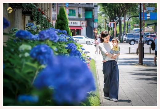 公園で家族写真のロケーションフォト あじさいの花と一緒に 名古屋市
