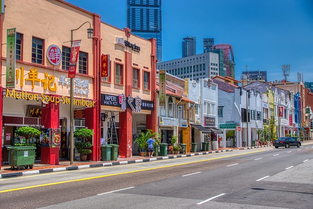 Traditional shop houses on Southbridge Road in Chinatown, Singapore