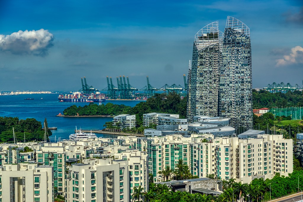 Luxury dwellings with peculiar architecture at harbour front in Singapore