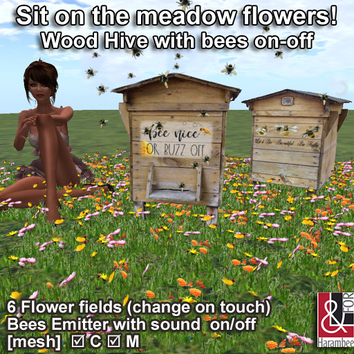 Sit on the meadow flowers - Wood Hive with bees on-off - TeleportHub.com Live!