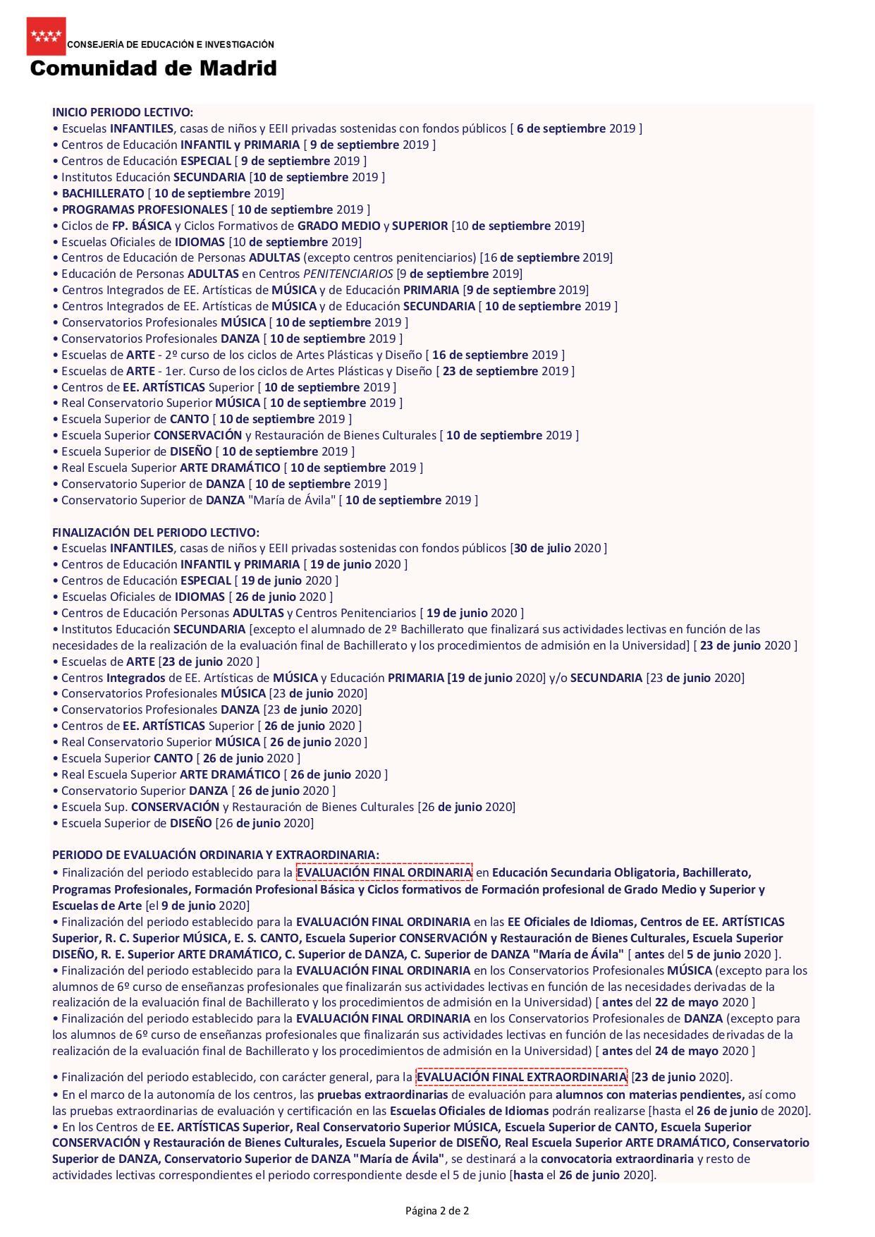 Uah Calendario Academico.Calendario Escolar Oficial Centro Ies Albeniz Alcala Educamadrid