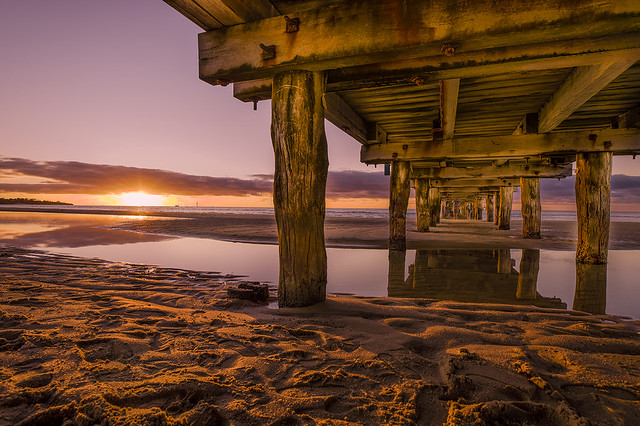 Old pier & sunset