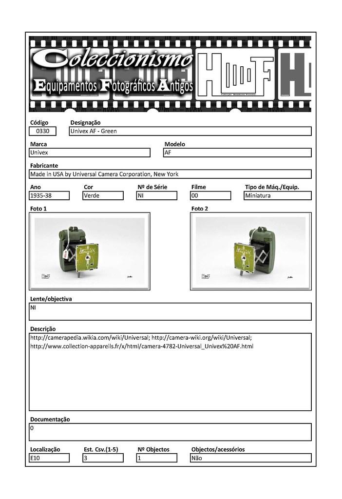 Inventariação da colecção_0330 Univex AF - Green