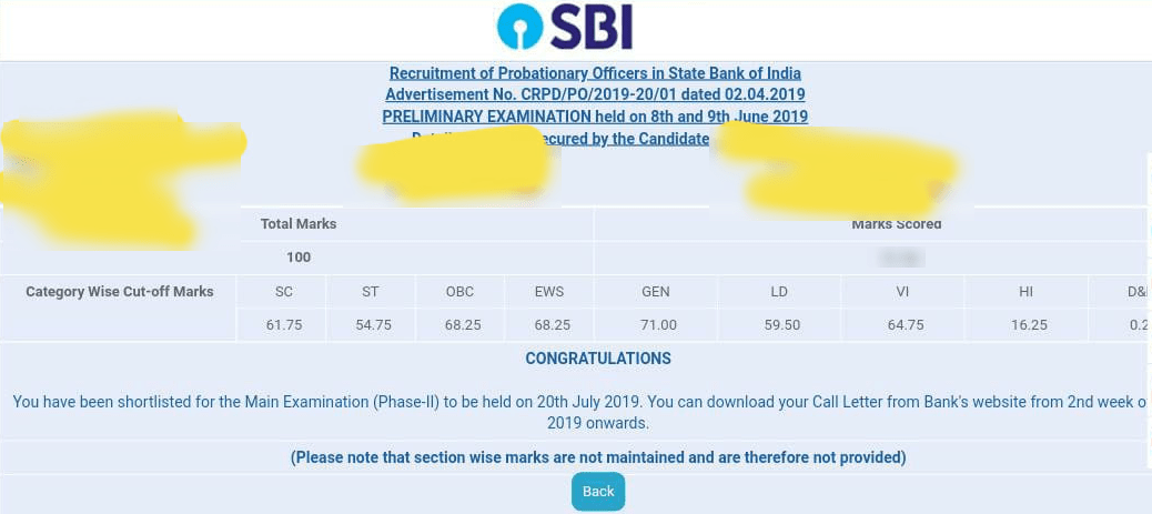 SBI PO Result 2019 Out at sbi.co.in; Prelims Cut Off Soars To 71 for General