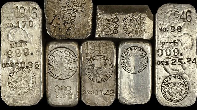 Seven U.S. Mint silver ingots