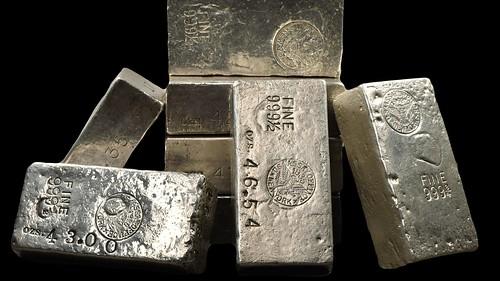 Stacked U.S. Mint silver ingots