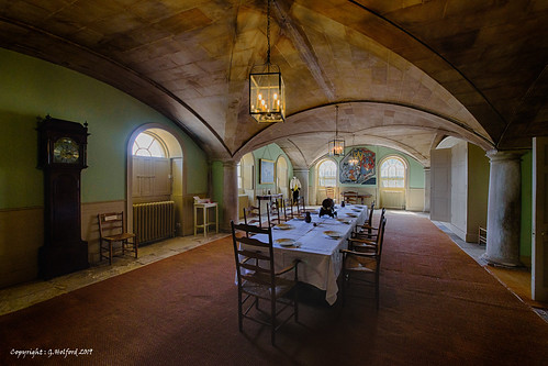 hdr nationaltrust attingham diningroom shropshire statelyhome nikon d750 table chairs clock vaulted lamp column grandfatherclock longtable downstairs old traditional wonderful england long longview atmsophere atmospheric undercroft rooms oldroom longroom