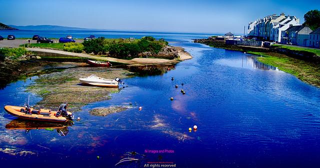 Cushendun harbour and boats