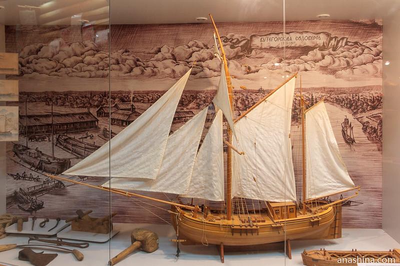 Макет корабля, построенного на Вытегорской судоверфи, Вытегра
