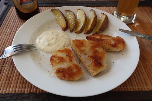 Panierte Kohlrabi mit Kartoffelspalten und Joghurt-Schnittlauch-Dip (mein 2. Teller)