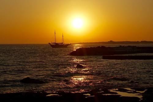 nature landscape sea seascape boat sun sunset sundown paphos cyprus