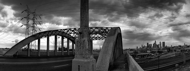 sixth street bridge pano. los angeles, ca. 2005.