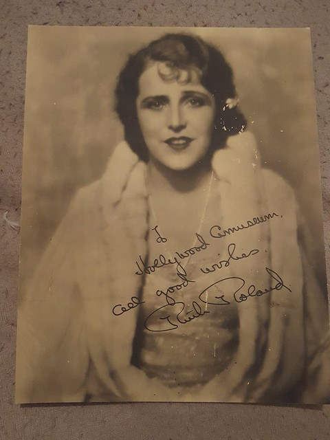 Signed photo of Silent screen star Ruth Roland. Ruth appeared in around 200 silent films. Famous for her adventure serials Ruth also formed her own company in 1919 and made several pictures. Ruth died in 1937 aged just 45.