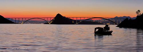 otokkrk krckimost primorskogoranska croatia landscape seascape most bridge more sea barke boats zalazak sunset
