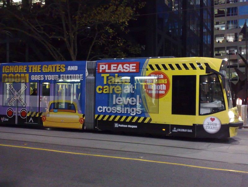 June 2009: Rail safety campaign on a tram