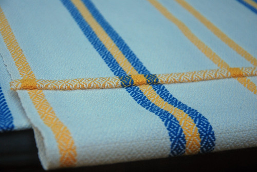 Handwoven cotton Swedish Anna towels by irieknit with yellow hem in 4-shaft crystal twill