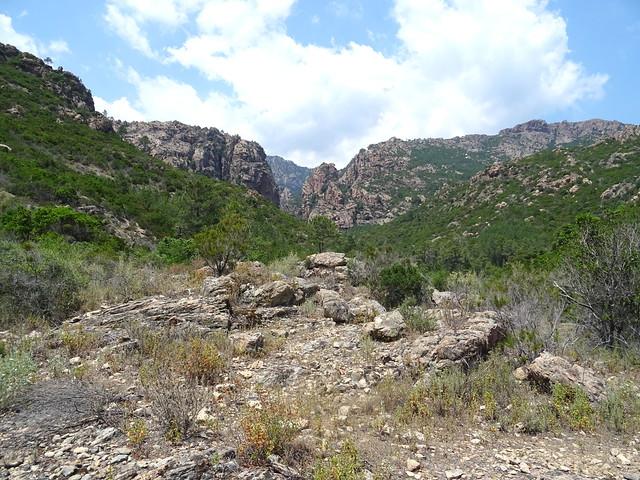Retour par le chemin du Carciara : le chemin dans la perspective de la brèche du Carciara