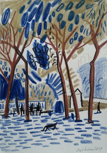 Maria Zaikina, Park scene with a cat, pencils and china markers on paper, 14.8×21 cm, 2019, private collection, Israel