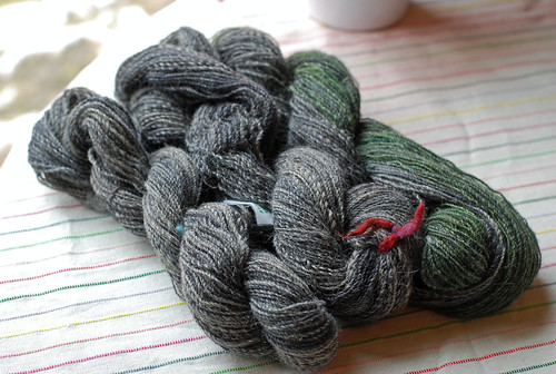 Three skeins of handspun Masham wool yarn dyed by Sheepy Time Knits and spun by irieknit