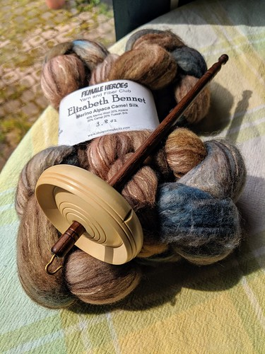Handdyed fibre by Sheepy Times Knits Female Heroes Club 2019 and Tabachek holly whorl drop spindle