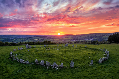 ancient pagan druid druids stone circle standing stones worship monument monuments raphoe county donegal ireland landscape tourist tourism site visit scenic landmark sun set sunset red blue sky summer country side countryside lens gareth wray photography irish eire granite field national trust colourful clear day historic famous attraction photographer pro vacation europe neolithic bronze age outdoor grass dji phantom p4p drone aerial celtic architecture plant quadcopter four cloudscape 2019